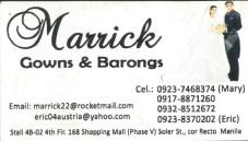 MARRICK GOWNS AND BARRONGS